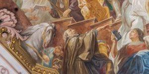 Der Breznreiter im Deckenfresko der Heilig-Geist-Kirche