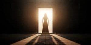 Woman silhouette in an empty room. 3d render