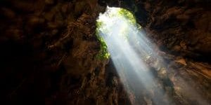 Sun beam through the hold of cave.